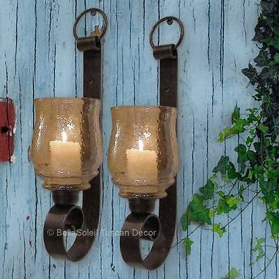 ST/2 Tuscan Farmhouse Antique Forged Metal Wall Sconce Candle Holders