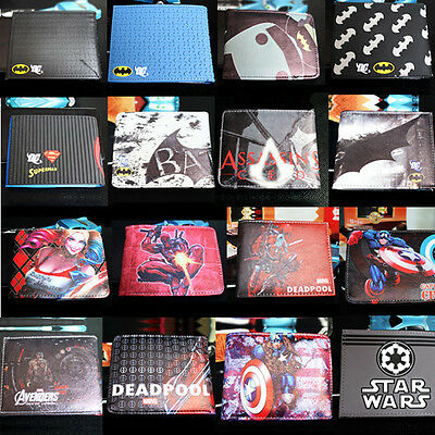Leather Wallets Purse Credit Card Holder Purse Marvel DC Comics Superhero Bags