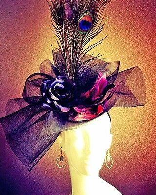 Handmade Headband Fascinator Hat Black Rose Flower Peacock Feathers Purple Derby