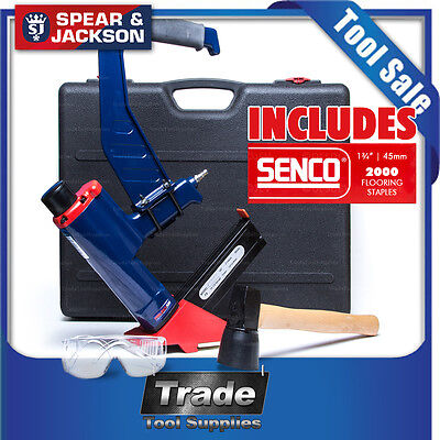 Spear & Jackson Air Secret Nailer Flooring Gas Nailer + 2000 STAPLES 45mm