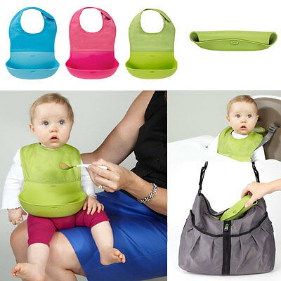 OXO TOT Roll Up Bib and Silicone Spoon Set - Green/Aqua