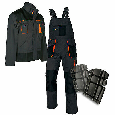 New Bib and Brace Overalls Mens Work Trousers Dungaress Knee Pad Multi Pocket UK