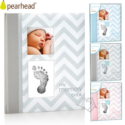 NEW Pearhead My First Memory Baby Book Chevron Keepsake Scrapbook Imprint Cards
