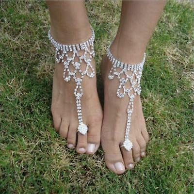 Barefoot Sandals Hollow out Foot Anklet Casual Crystal Beach Wedding New Women