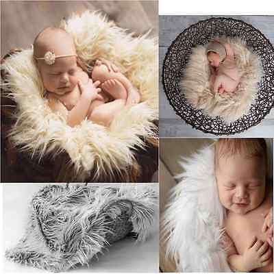 Newborn Baby Infant Soft Faux Fur Rug Mat Blanket Backdrop Photography Props New