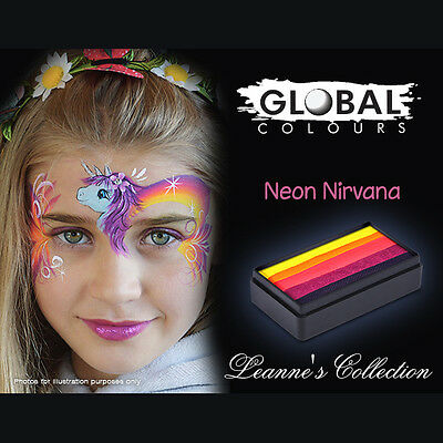 Global 30g Neon Nirvana Fun Stroke Rainbow Professional Face Paint Party UV Glow