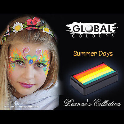 Global 30g Summer Days Fun Stroke Rainbow Professional Face Paint Party Vibrant