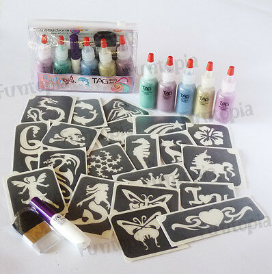 TAG Body Art PARTY Glitter Tattoo Kit - 3 Part Vinyl Stencil adhesive unisex