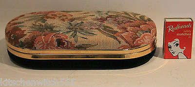 Vintage Tapestry Jewellery Box Floral Fabric Gold Metal Fitted Mirror Lid Travel