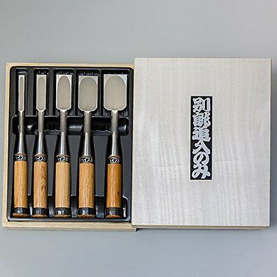 HONMAMON Japanese Style Chisel, High Speed Steel 5pcs set, Made in Japan