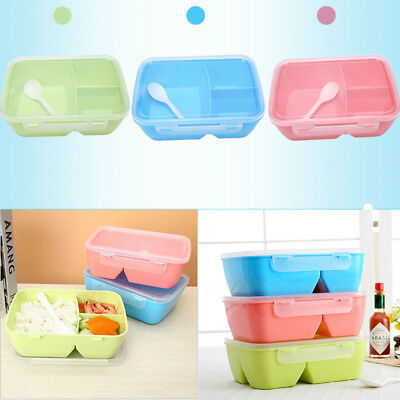 Bento Lunch Box Food Boxes For Kids Adults Microwave With Spoon New