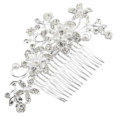 Fascinating Bridal Crystal Pearl Diamante Hair Comb Clip BF