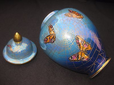 Lovely Carlton Ware 'New Flies' (3025) Pattern Vase and Cover. Butterfly spider
