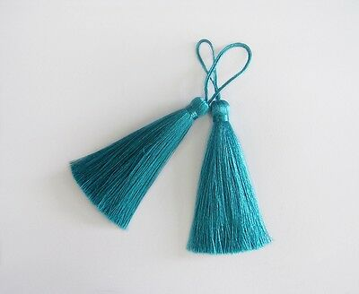 Cyan Long Tassel Silk Fringe Trim Necklace Earrings Curtain Sewing Embroidered