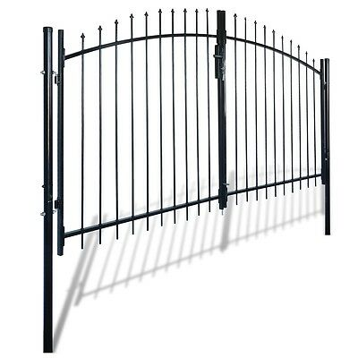 New Double Door Fence Gate with Spear Top 300 x 175 cm Steel Powder-coated