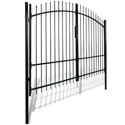 New Double Door Fence Gate with Spear Top 300 x 248 cm Steel Powder-coated