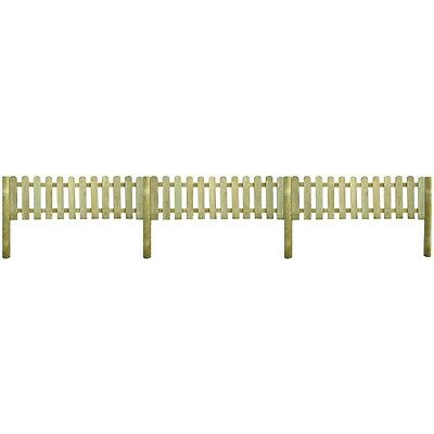 New Picket Fence 6 m Long with Posts 60 cm High Wood Rot-resistant Sturdy
