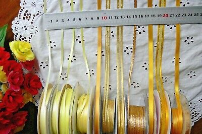 Satin & Metallic LEMON & GOLD Ribbons 3,6,7&10mm Wide 2,3,5&10 Mtrs MultiList BW