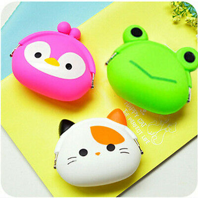 Women Girls Cartoon Silicone Coin Purse Key Earphone Storage Bags Small Wallet