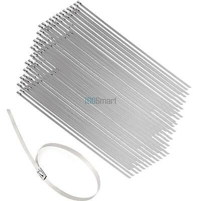 New 100pcs Strong Stainless Steel Chrome Metal Self Locking Cable Ties Zip Wraps