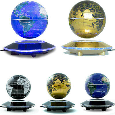 """Xmax Gift 6""""Magnetic World Map Globe AntiGravity Floating Rotate Earth LED Light"""