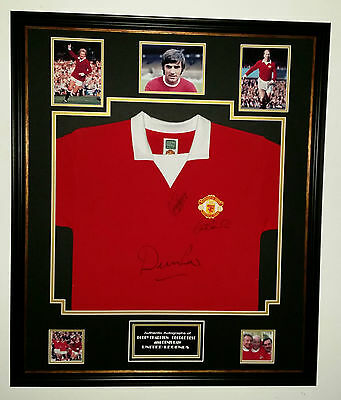 ** Rare George Best, Bobby Charlton and Denis Law Signed Shirt Autograph **