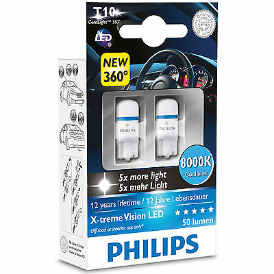 Philips Xtreme Vision 360 LED W5W T10 501 8000K Cool Blue Bulbs (Twin)