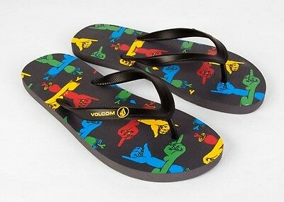 2ecc34c4712ed9 NEW VOLCOM MEN ROCKER SANDALS FLIP FLOP CREEDLERS BLACK MULTI US size 9  item 53