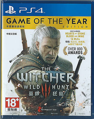The Witcher 3: Wild Hunt Game of the Year Edition HK Chinese/English sub PS4 NEW
