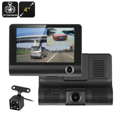 "Kit Dvr Auto 3 Telecamere Videoregistratore Full Hd 1080P Monitor 4"" Video"