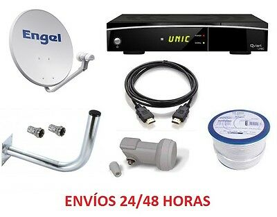 Kit Antena Parabolica 80Cm Engel + Qviart Unic + 20 M Cable Coaxial + Cable Hdmi