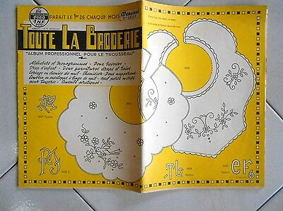 1960 French OLD EMBROIDERY YELLOW  ALBUM  : TOUTE LA BRODERIE