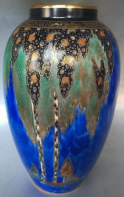 Antique Carlton Ware Vase Forest Tree Signed Awesome English Piece