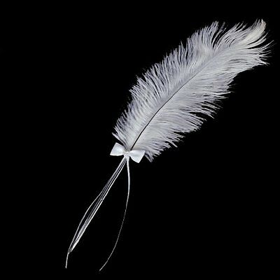 Bowknot Wedding Signing Pen White Ostrich Feather Pen with Diamante BF