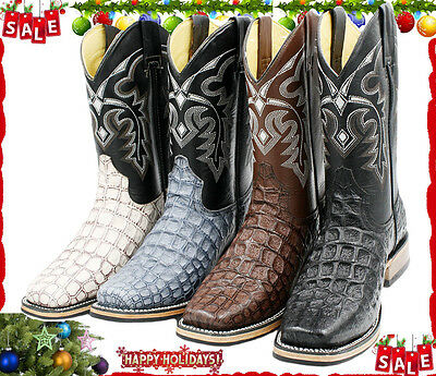 Men's Genuine Leather Crocodile Print Western Rodeo Cowboy Boots