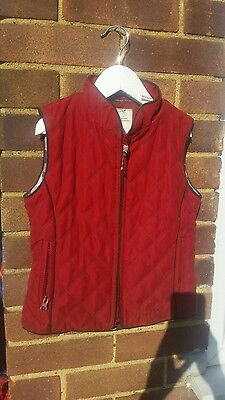 Joules Kids Girls age 6-7 Red quilted Gilet,  Bodywarmer Country Shooting style