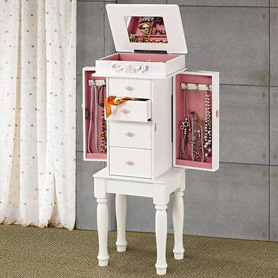 White Jewelry Armoire with Pink Hardware and Lining by Coaster 900146