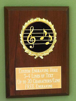 Music/Singing/Choir/Band Award Plaque 4x6 Trophy FREE engraving