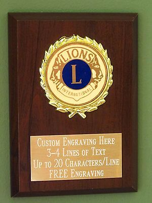 Lions Club Award Plaque 4x6 Trophy FREE engraving