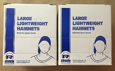 2 Boxes Of 144 Ct Pack Royal Large Lightweight  BLACK Hairnets RPH144LTBK28 New!