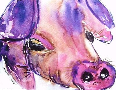 "Fridge Magnet,Pig   Quirky Large magnet 4.25"" by 5.5"" By Casimira Mostyn"