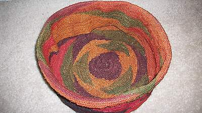 Handmade Finely Woven Jute Basket Cover Earth Tones Round Lightweight Purse nice