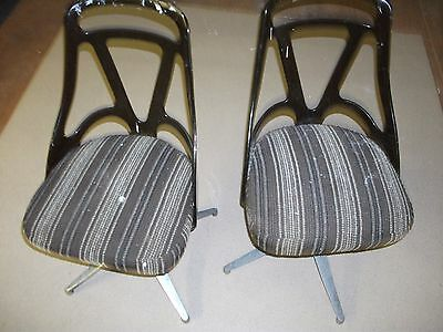 Pair of 1960s Vintage Brown Retro Chairs in Plastic, Aluminium & Fabric