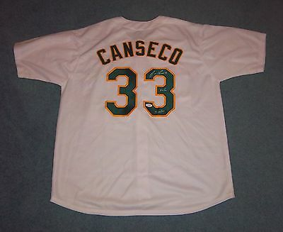 Oakland Athletics A's Jose Canseco Signed Autographed Home Jersey 40/40 Date