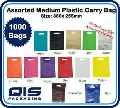 1000 Bulk Assorted Medium Plastic Carry Bags 380 x 255mm Gift Show Party Retail
