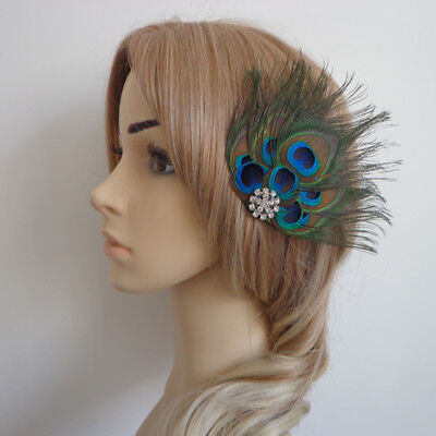 Vintage 1920s Gatsby Peacock Feather Fascinator Wedding Headpiece Hair Clip