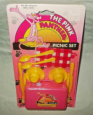 Vintage The Pink Panther Picnic Set, JA-RU Rack Toy, Rare, 1989, MIP
