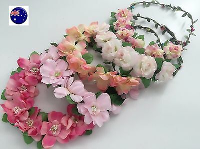 Women Flower Girl Boho Party Wedding Beach Pink Crown hair headband Garland