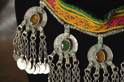 Old Afghanistan Kuchi Pashtun Tribal Necklace on Embroider Strap