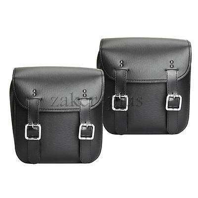 2X PU Leather Saddlebags Side Bags For Harley Davidson Dyna Glide Fat Street Bob